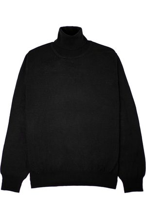 Men's Black Wool Merino Turtleneck Classic Large Romeo Merino