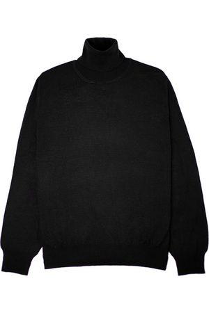 Men's Black Wool Merino Turtleneck Classic XS Romeo Merino