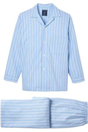 Men Boxer Shorts - Organic Blue Cotton Men's Westwood Brushed Pyjama Set Medium British Boxers