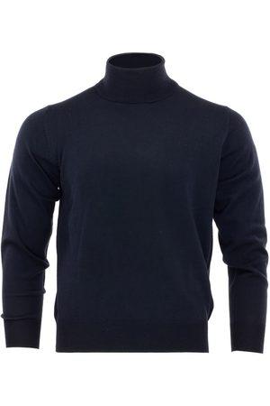 Men's Blue Wool Merino Turtleneck Peacoat Large Romeo Merino