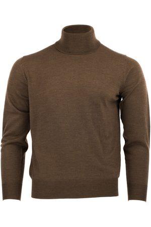 Men's Brown Wool Merino Turtleneck Bison 4XL Romeo Merino