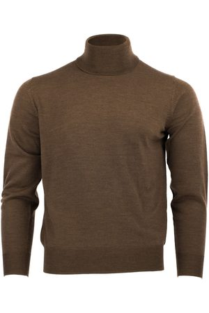 Men's Brown Wool Merino Turtleneck Bison Small Romeo Merino