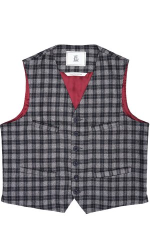 Men's Artisanal Grey Wool Cobbler Waistcoat - Checked Tweed Large LaneFortyfive
