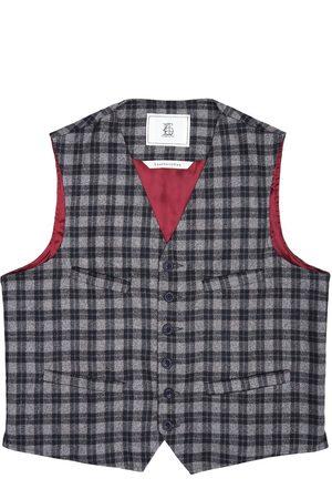 Men's Artisanal Grey Wool Cobbler Waistcoat - Checked Tweed Medium LaneFortyfive