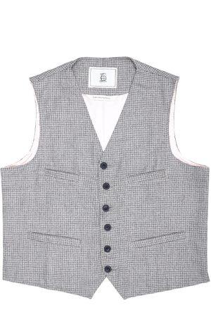 Men Waistcoats - Men's Artisanal Grey Wool Cobbler Waistcoat - Biscuit Knitted Tweed XL LaneFortyfive