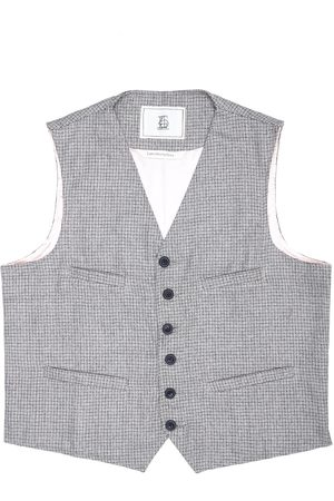 Men's Artisanal Grey Wool Cobbler Waistcoat - Biscuit Knitted Tweed Small LaneFortyfive