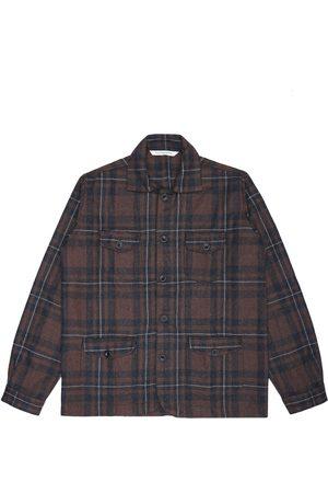 Men's Artisanal Brown Wool Sarge Jacket - Checked Tweed 3XL LaneFortyfive