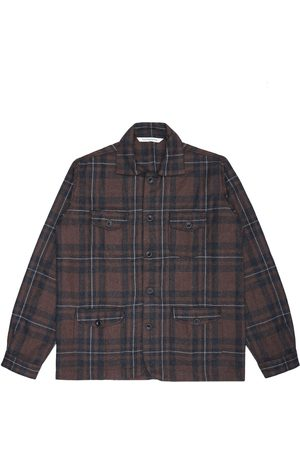 Men's Artisanal Brown Wool Sarge Jacket - Checked Tweed Large LaneFortyfive