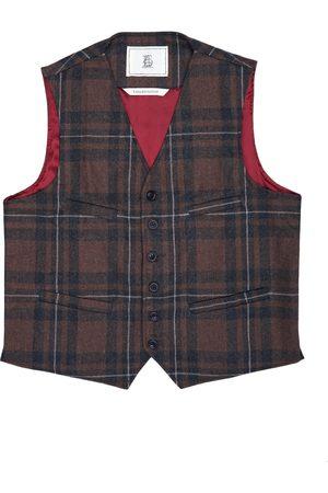 Men Waistcoats - Men's Artisanal Brown Wool Cobbler Waistcoat - Checked Tweed Large LaneFortyfive