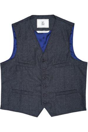 Men Waistcoats - Men's Artisanal Black Wool Cobbler Waistcoat - Charcoal Herringbone Tweed Large LaneFortyfive