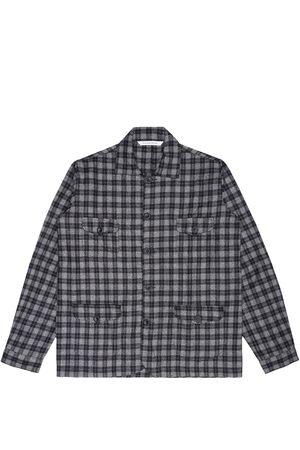 Artisanal Grey Wool Sarge Women's Jacket - Checked Tweed Medium LaneFortyfive