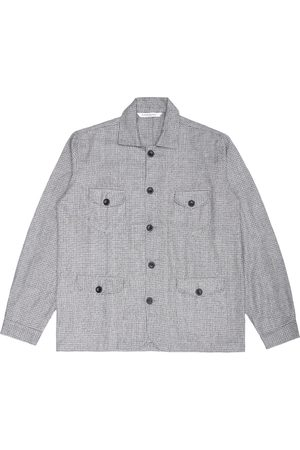 Artisanal Grey Wool Sarge Women's Jacket - Biscuit Knitted Check Tweed XL LaneFortyfive