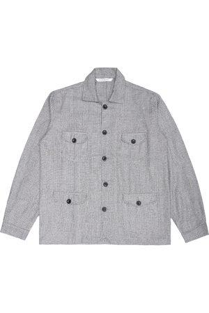 Men's Artisanal Grey Wool Sarge Jacket - Biscuit Knitted Check Tweed Large LaneFortyfive