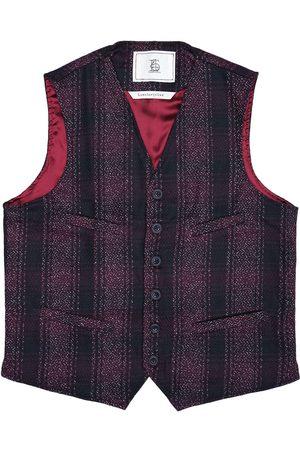 Men's Artisanal Red Wool Cobbler Waistcoat - Dark Checked Tweed Large LaneFortyfive
