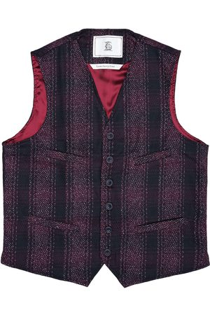 Men's Artisanal Red Wool Cobbler Waistcoat - Dark Checked Tweed XXL LaneFortyfive