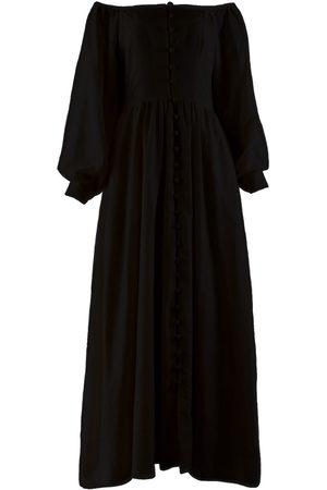 Women's Artisanal Black Linen Narom Off-The-Shoulder Maxi Dress Medium Nary