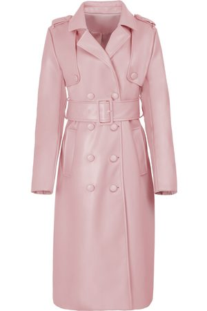 Women Trench Coats - Women's Pink Leather The Cher Trench Large Hilary MacMillan