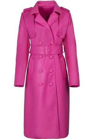 Women Trench Coats - Women's Pink Leather The Elle Trench XL Hilary MacMillan