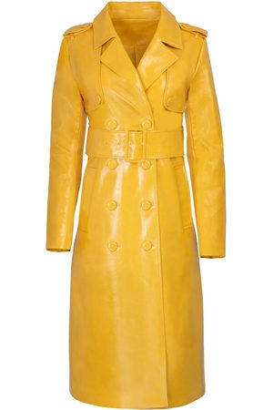 Women Trench Coats - Women's Yellow/Orange Leather The Stella Trench Large Hilary MacMillan