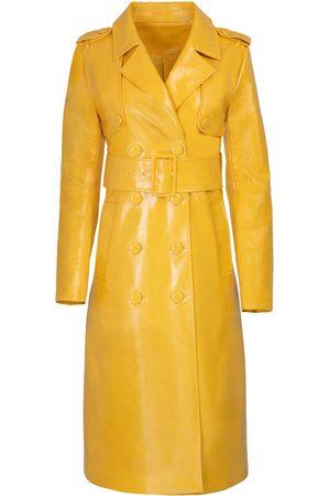 Women Trench Coats - Women's Yellow/Orange Leather The Stella Trench Small Hilary MacMillan