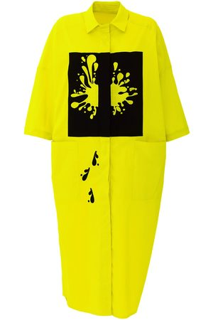 Women Casual Dresses - Women's Artisanal Yellow Neon Oversized Dress With Embroidery Medium Julia Allert