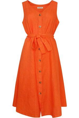 Women's Recycled mango Cotton Midi Sleeveless Buttoned Down Linen Dress Large Haris Cotton