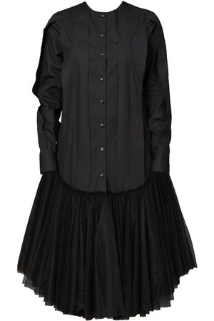 Women's Black Cotton U-Hem Tunic Dress Large QUOD