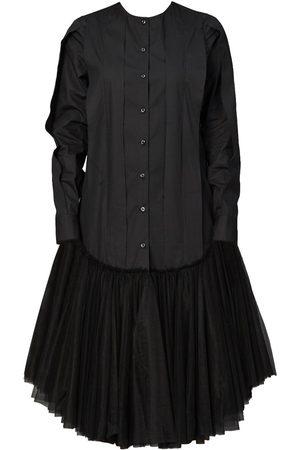 Women's Black Cotton U-Hem Tunic Dress Medium QUOD