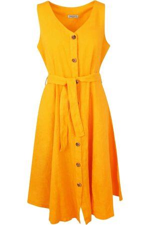 Women Midi Dresses - Women's Recycled Yellow/Orange Cotton Midi Sleeveless Buttoned Down Linen Dress - Crocus XXL Haris Cotton
