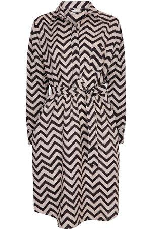 Women's Artisanal Grey Cotton Zig Zag Shirt Dress - Charcoal Small NoLoGo-chic