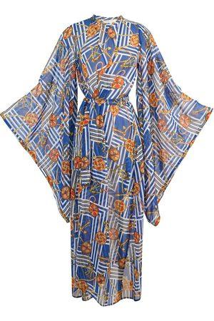 Women Kimonos - Women's Artisanal Yellow/Orange Catamaran Kimono Small Jennafer Grace