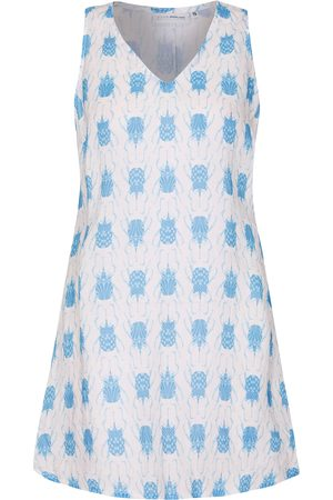 Women Casual Dresses - Women's Pink Linen Henny Dress - Beetle Blue Large Pink House Mustique
