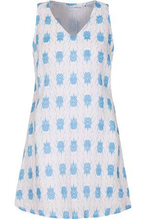 Women Casual Dresses - Women's Pink Linen Henny Dress - Beetle Blue Small Pink House Mustique