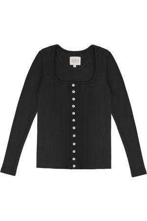Women's Artisanal Black Cotton Long Sleeve Button Up Shirt - 90S Style Small Nalu Bodywear