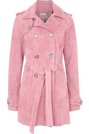 Women's Artisanal Pink Leather Suede Short Trench Coat Large ZUT London