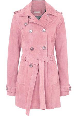 Women's Artisanal Pink Leather Suede Short Trench Coat XXXS ZUT London