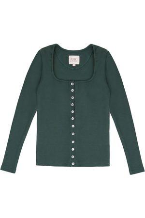 Women's Artisanal Green Cotton Long Sleeve Button Up Shirt - 90S Style XS Nalu Bodywear