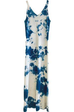 Women's Artisanal Blue Cashmere Slip Dress - Indigo Shibori Tie Dye Collection Large Zenzee