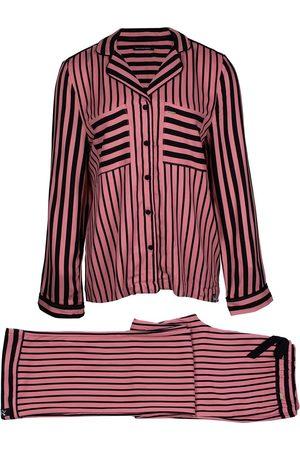 Women Pajamas - Women's Low-Impact Black Boyfriend Fit Striped Pyjama Medium Pretty You London