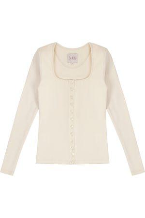 Women Long sleeves - Women's Artisanal Natural Cotton Long Sleeve Button Up Ecru Shirt - 90S Style Medium Nalu Bodywear