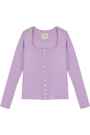 Women's Artisanal Lavender Cotton Long Sleeve Button Up Shirt - 90S Style Medium Nalu Bodywear