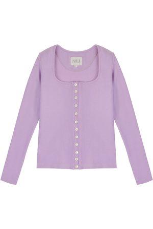 Women's Artisanal Lavender Cotton Long Sleeve Button Up Shirt - 90S Style XS Nalu Bodywear