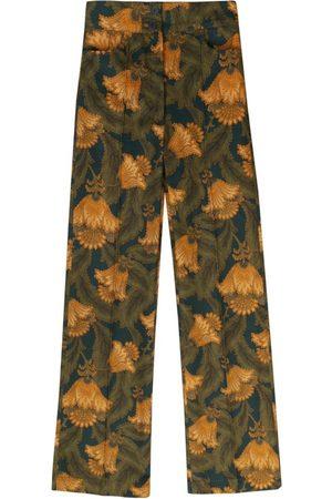 Women Straight Leg Pants - Women's Artisanal Green Cotton High-Waisted Straight Creased Trousers - Wallpaper Print XS Nalu Bodywear