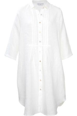Women Casual Dresses - Women's Low-Impact White Cotton Journey Linen Shirt Dress Large Wallace Cotton