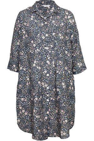 Women Casual Dresses - Women's Low-Impact Blue Cotton Journey Linen Shirt Dress Flora Small Wallace Cotton