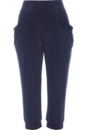 Women Capris - Women's Artisanal Blue Silk Capri Midnight Leisure Pant Large LAHIVE