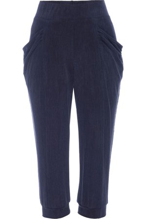Women Capris - Women's Artisanal Blue Silk Capri Midnight Leisure Pant Small LAHIVE