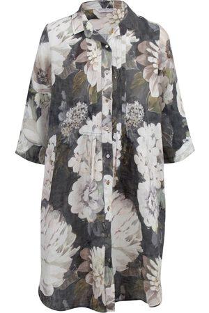 Women Casual Dresses - Women's Low-Impact Black Cotton Journey Linen Shirt Dress Romance Large Wallace Cotton