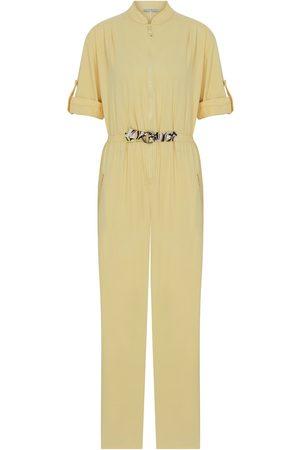 Women's Artisanal Yellow Cotton Waist Gathered Jumpsuit Medium kith & kin