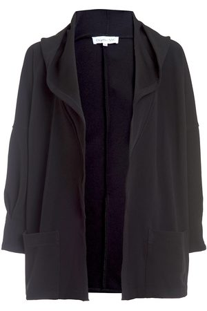 Women Ponchos & Capes - Women's Vegan Black Fabric 24/7 Hooded Cape - The Mercer XL DuetteNYC